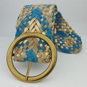 Accessories - Blue & Gold Suede Leather Braided Woven Belt